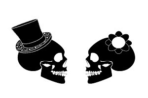 Skull icon wedding couple background
