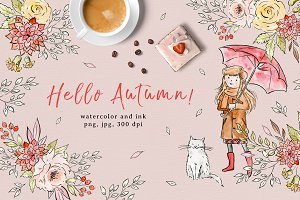 Hello Autumn! - watercolor & ink