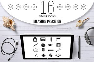 Measure precision icons set, simple