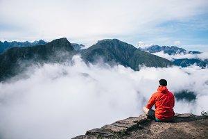 Traveler man enjoying scenery nature