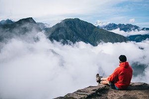 Man relax with scenery nature view