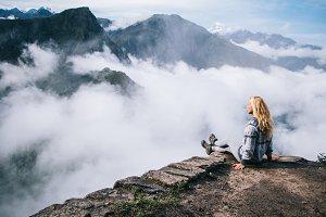 Woman enjoy scenery mountains view