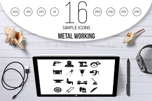 Metal working icons set, simple