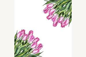 Watercolor tulip flower frame art