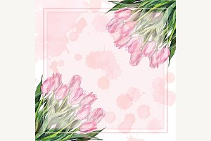 Watercolor tulip flower frame border