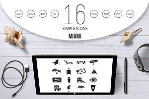 Miami icons set, simple style