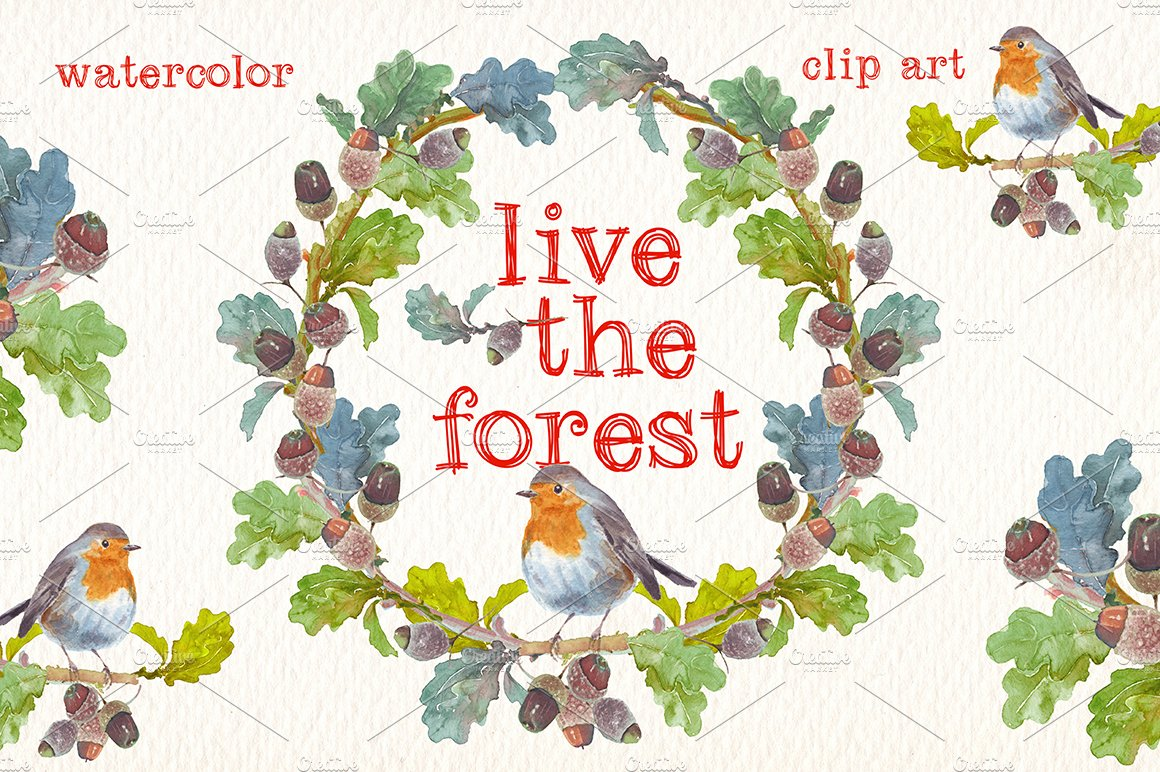 live the forest watercolor clipart creative daddy creative daddy