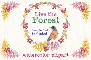 live the forest watercolor clipart