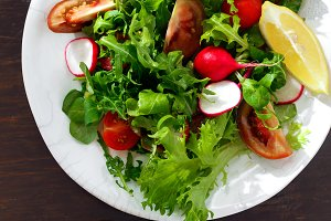 Plate fresh salad Healthy food