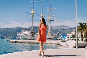 beautiful woman travel Europe