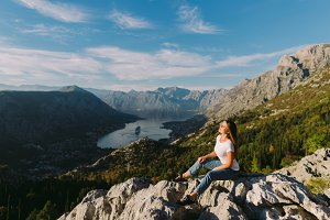 beautiful woman relax in mountains
