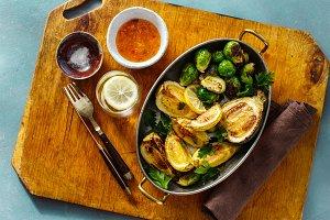 Fried broccoli zucchini