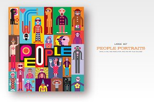 People portraits flat style vector