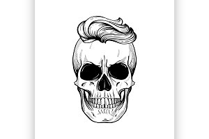 Angry skull with hairstyle