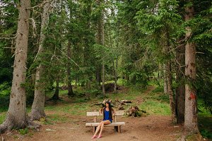 country woman relax in wild nature f