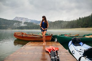 woman relax on lake