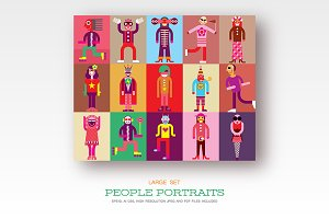 People portraits, flat style vector