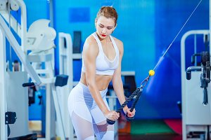 fitness woman doing triceps