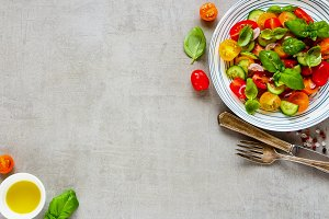 Healthy salad and ingredients