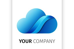 Blue cloud Logo design ribbon