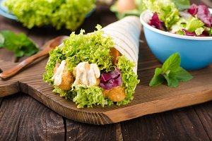 Grilled tortilla with chicken, mayo