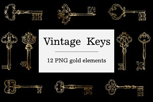 Gold Vintage Keys Clipart