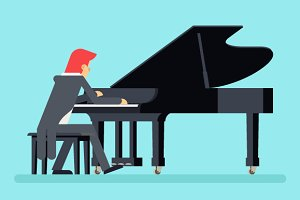 Pianist Grand Piano Player Character