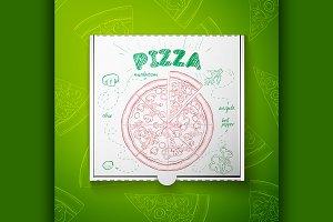 Cardboard box with pizza mashroom