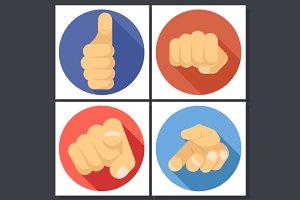 Hand Flat Design Icons
