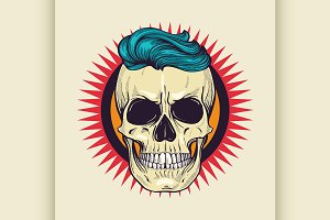 Color angry skull with hairstyle