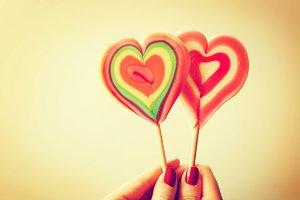 Colorful heart shaped lollipops