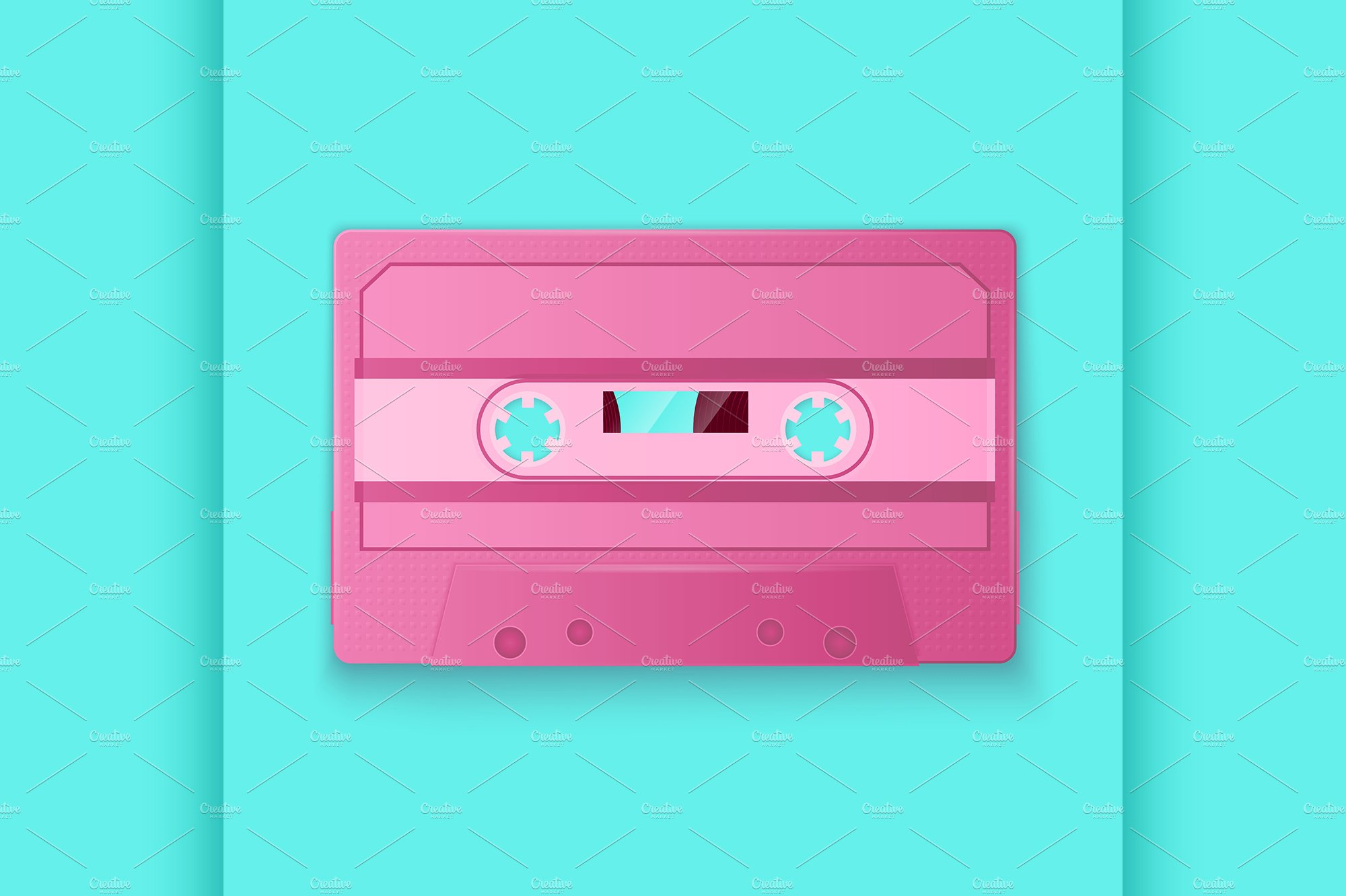 Painted Retro pink cassette tapes ~ Illustrations ...