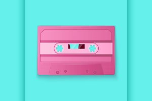 Painted Retro pink cassette tapes