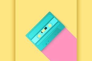 Painted Retro turquoise cassette
