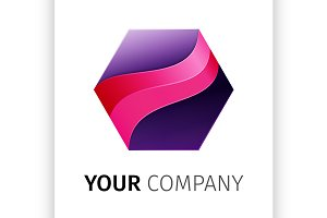 Purple hexagon Logo design ribbon