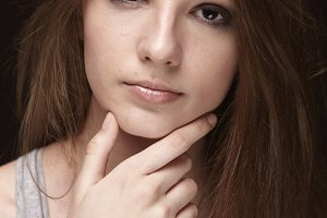 one young teenage girl, close up por