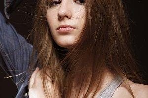 one teenage girl, long flying hair,