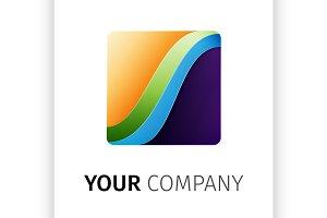 Rainbow square Logo design ribbon