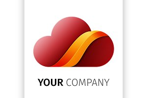 Red and orange cloud Logo design