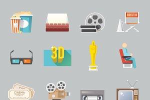 Cinema retro flat icons set