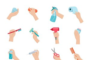 Hand holding objects icons set flat