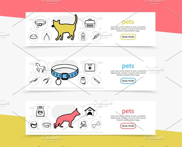 Pets horizontal banners