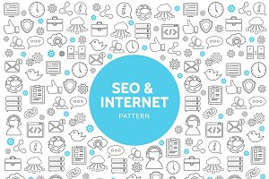Seo and internet line icons pattern