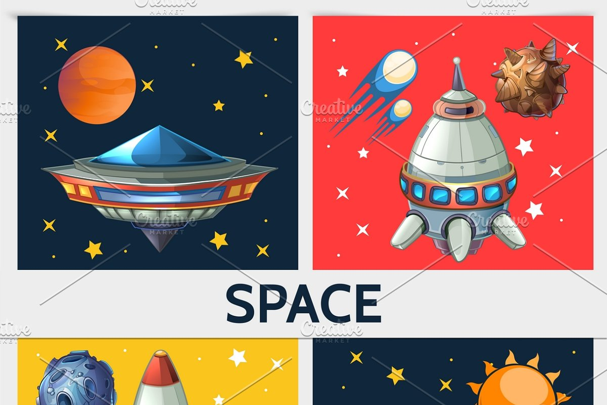Colorful space square composition