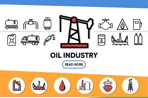 Oil industry line icons set