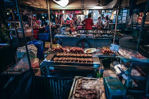 Night Market Stall Selling Pork