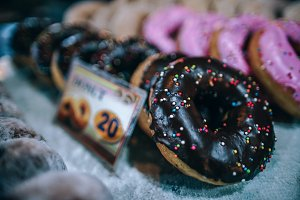 Chocolate Donuts Sale for 20 Baht