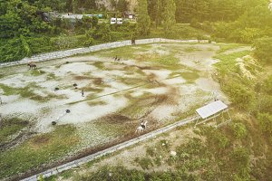 aerial view of mountain racecourse o