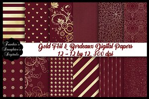 Gold Foil & Bordeaux Digital Papers