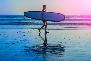 Vacation Silhouette Of A Surfer
